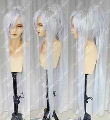 2018 Date Masamune New long Silver White  Cosplay Wig+Ponytail