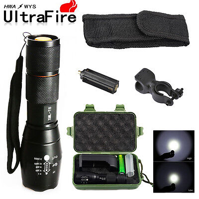 Military 10000LM Tactical 18650 LED Flashlight T6 Zoomable Lamp+ Battery Kit USA