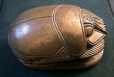 Large Old Vintage Brass Egyptian Revival Scarab Beetle Paperweight Hieroglyphics