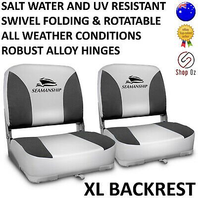 New 2 Swivel Boat Seats Rotatable Base Folding Fishing All Weather Boating Chair