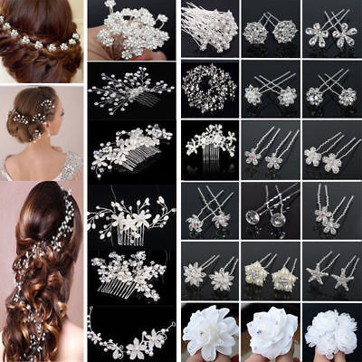 Bridal Wedding Hair Flower Clip Jewelry Crystal Pearl Headband Accessories Lot