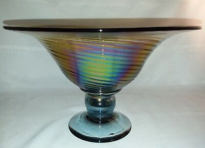 Stunning Large Amber & Carnival Glass Spiral Art Deco Centerpiece Pedestal Bowl