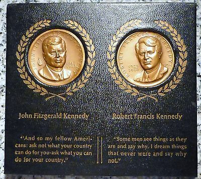 1963 John & 68' Robert F. Kennedy Medallic Art Co. 2 Memorial Art Medals W/Stand
