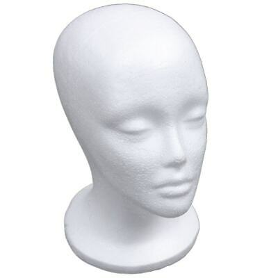 Female Foam Mannequin Head Model Hat Wig Display Stand Rack white H3F8