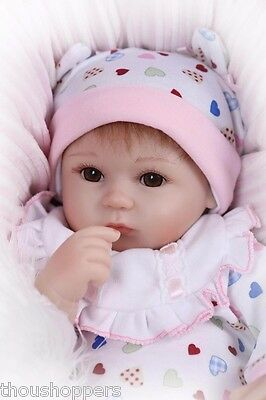 Real Life Looking 40cm Vinyl Silicone Reborn Handmade Baby Girl Doll #46