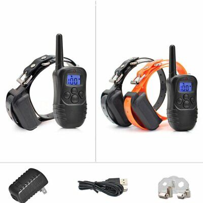 Pet Dog Training Collar 330Yard Rechargeable Electric LCD 100LV Shock For 2 Dog