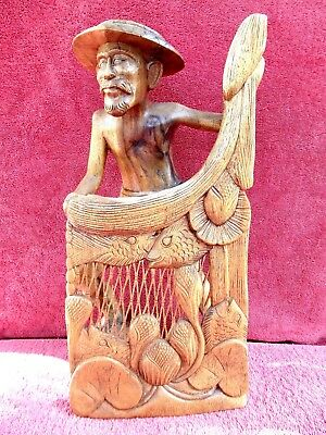 VINTAGE  NET  FISHERMAN   A  MASTERPIECE  IN  WOOD  CARVING  INDONESIA  43cm,