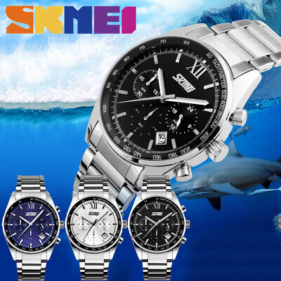 SKMEI Mens Luxury Date Stainless Steel Band Quartz Sport Analog Wrist Watch Gift