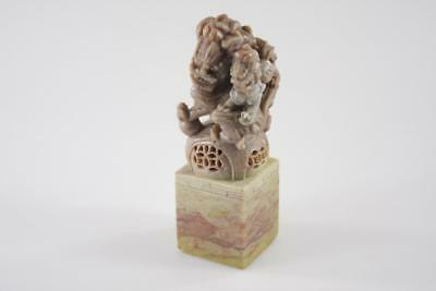 Chinese Vintage Hand Carved Shi Shi Lion Soapstone Large Stamp