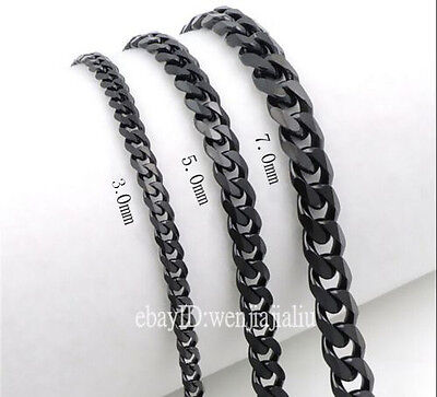 3/5/7mm MENS Boys Chain Black Tone Curb Link Stainless Steel Necklace 18-36''