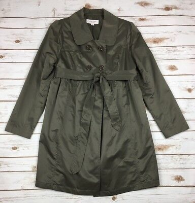 Liz Lange Maternity Jacket Size Small S Olive Green Formal Dressy Shiny Trench