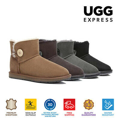 UGG Ladies Mini Button Ankle Boots -Premium Australian Sheepskin Water Resistant