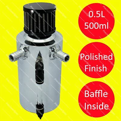 0.5L Baffled Polished Oil Breather Tank With 13mm (1/2) Inlets + Black Filter