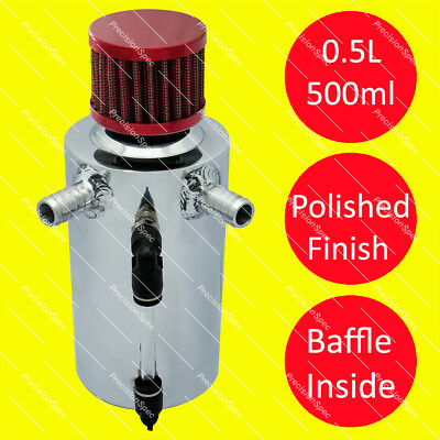 0.5L Baffled Polished Oil Breather Tank With 13mm (1/2) Inlets + Red Filter
