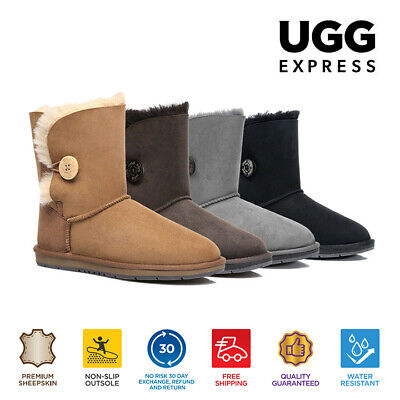 UGG Ladies Short Button Boots - Australian Premium Sheepskin Water Resistant