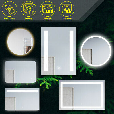 Round/Square Bathroom Wall Mirror LED Illuminated Touch Switch Anti-fogging New