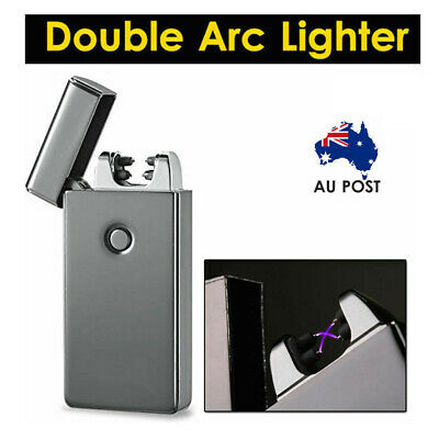 Windproof Lighter USB Rechargeable Double Arc Flameless Plasma Torch Electric AU