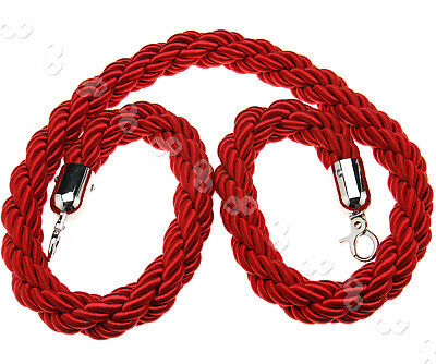 Queue Divider Crowd Control Stanchion 1.5M Twisted Red Barrier Rope