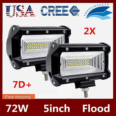 "2X 7D Tri-Row 7Inch 72W Cree Led Light Car Spot Offroad 4Wd Truck Atv Pk 12"" 36W"