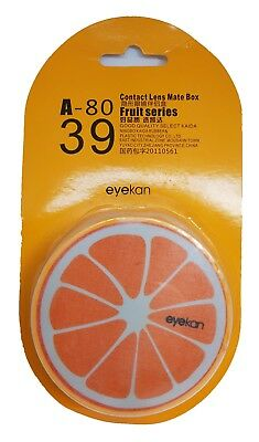 Funky Fruit Orange Coloured Contact Lens Lenses Travel Kit Mirror Case Tweezers