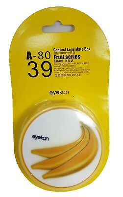 FunkyFruit Yellow Banana Coloured Contact Lenses Travel Kit Mirror Case Tweezers