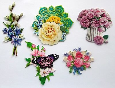 3D Easy Die Cut Card Toppers FLOWERS 5 Designs Glltter Hotfoil Finish Type 20