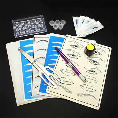 Beginner Microblading Permanent Makeup Tattoo Needle Pigment Ring Ruler Kit