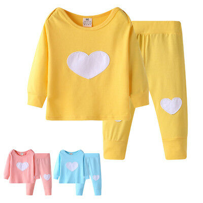 LC_ Kids Baby Boys Girls Love Heart Long Sleeve T-shirt Pants Clothes Set Rapt