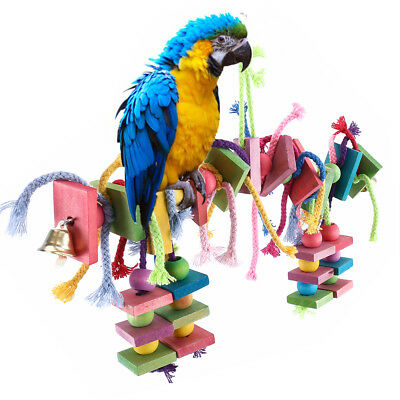 Parrot Pet Bird Toys Chew Hanging Wooden Large Rope Cave Toy Budgie Cockatiel