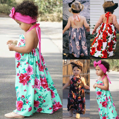 Baby Girls Kids Party Pegeant Maxi Dress Sleeveless Skirts Floral Lace Dresses