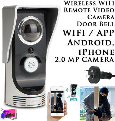 NEW WIFI Wireless Door Bell Night Vision Video HD Camera Intercom PIR AU Plug