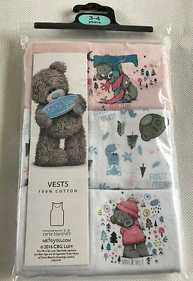 Me To You Tatty Ted Teddy Forest Friends Vests Underwear x 3  Age 3/4 Years New