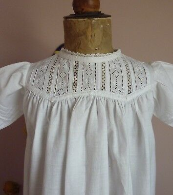 Lovely White Cotton Antique/Vintage Baby Gown~Dress For Doll~Broderie Anglaise