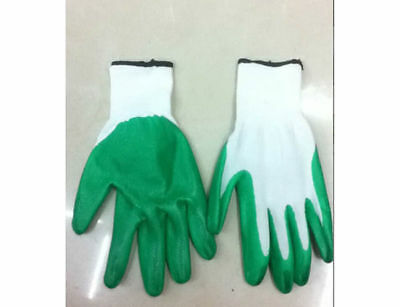 12 pairs of garden gloves with vinyl protection osfm green bulk wholesale lot