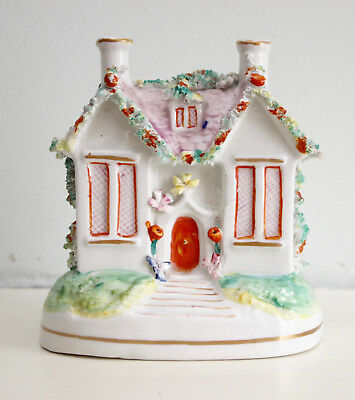 A Pretty c19th Antique Victorian Staffordshire Cottage Money Box, LAVENDER Roof