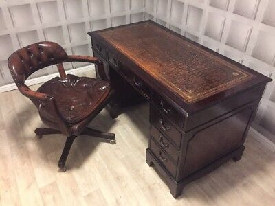 Large Brown Leather Top Writing Desk+chesterfield Captains Chair FREE UK P&P