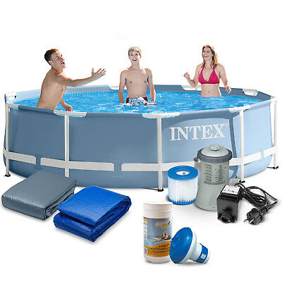 7in1 Set Gartenpool PRISM 305x76 Metal Frame Pool mi Filterpumpe INTEX 28700