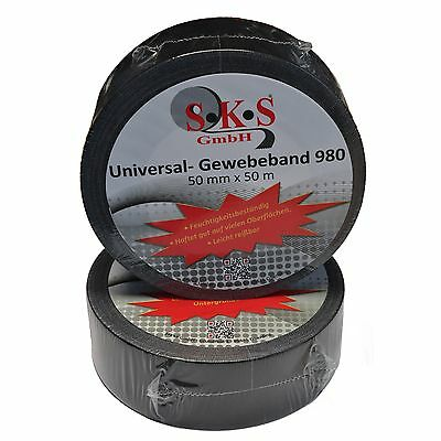 24 Rolls SKS 980 Universal Woven Tape Black 50mm x 50m Duct Tape