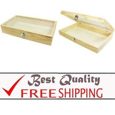 Box Glass Jewelry Ring Display Wooden Organizer Case Natural Wood Color