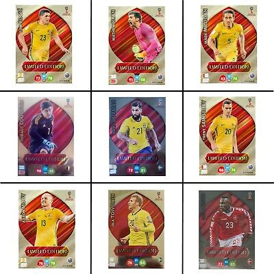 PANINI WORLD CUP 2018 Adrenalyn XL LIMITED EDITION Football Cards