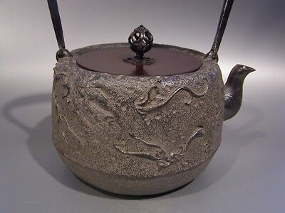 Japanese Antique KANJI old Tetsubin bottle Tea Kettle teapot Chagama #0017