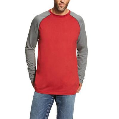 New! Men's Ariat FR fire resistant baseball tee red and grey shirt 10019028