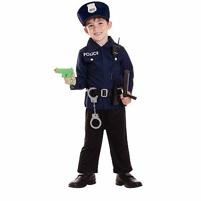 Policeman Navy Cop Uniform Outfit Police Man Kids Childs Fancy Dress Costume