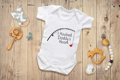 I Hooked Daddy's Heart Babygrow Cute Child Love Daughter Son Present