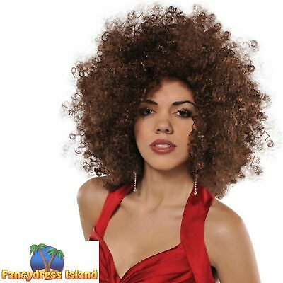 70's 1970s Disco Fever Brown Runway Afro Wig Big Hair Womens Fancy Dress Costume