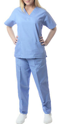 Sherly Uniforms Womens Medical Scrub Set V-neck Top and 4 Pocket Pant