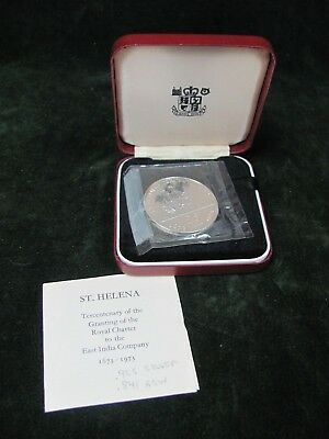 1973 St. Helena Sterling Silver Proof 25 Pence - with Box and COA