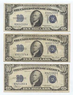 Three VF 1934 $10 Silver Certificates (#1553) Carefully Check out the Photos.