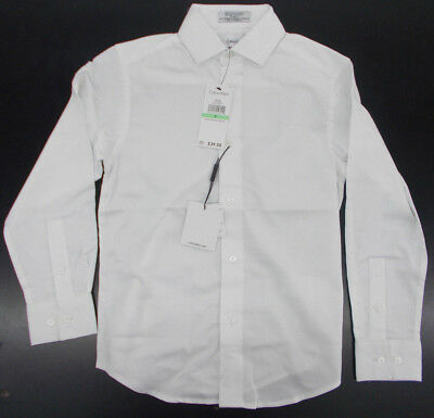 Boys Calvin Klein $39.50 White Sateen Modern Fit Stretch Dress Shirt Size 8 - 18