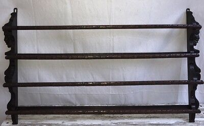 ANTIQUE C.~19th Cent. FRENCH CARVED 2 TIER HANGING PLATE SHELF RACK L~45 in.